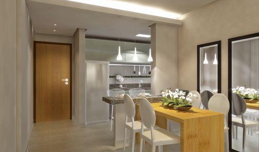 Sala integrada com a cozinha apto.2Q