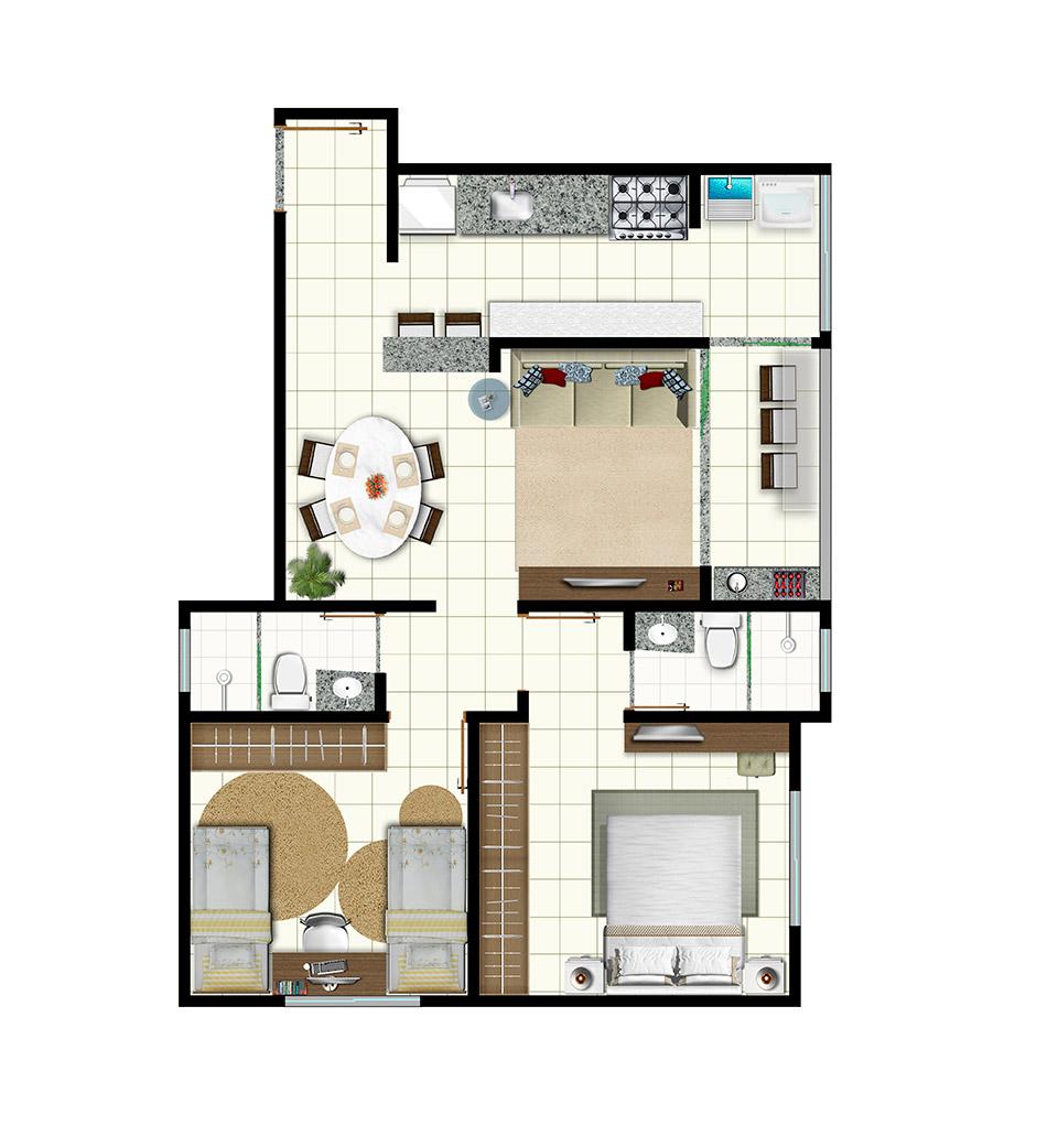 Planta de apartamento com 2 quartos com cozinha americana