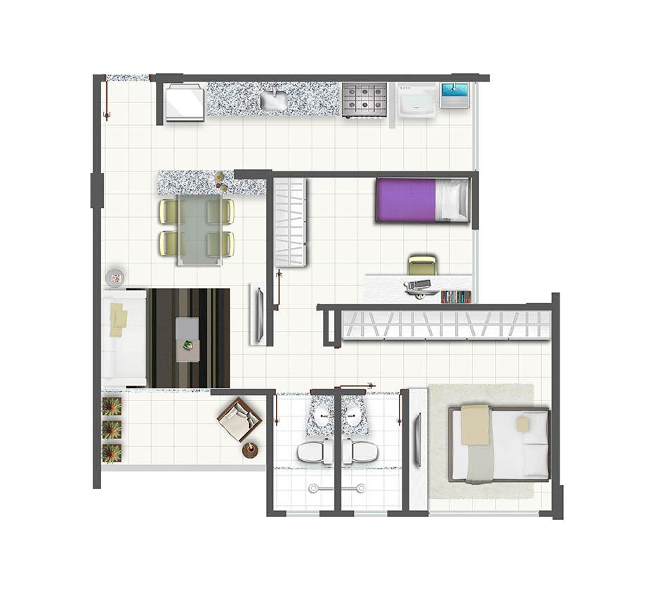 Planta de apartamento com 2 quartos e cozinha americana