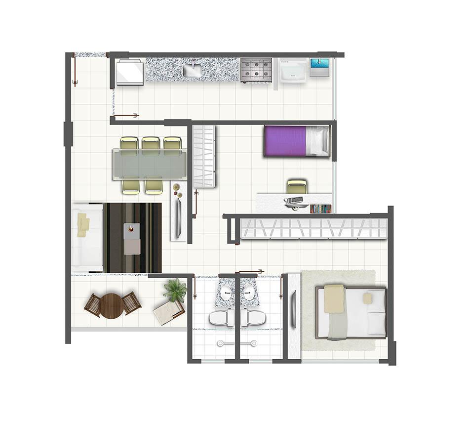 Planta de apartamento com 2 quartos e cozinha fechada