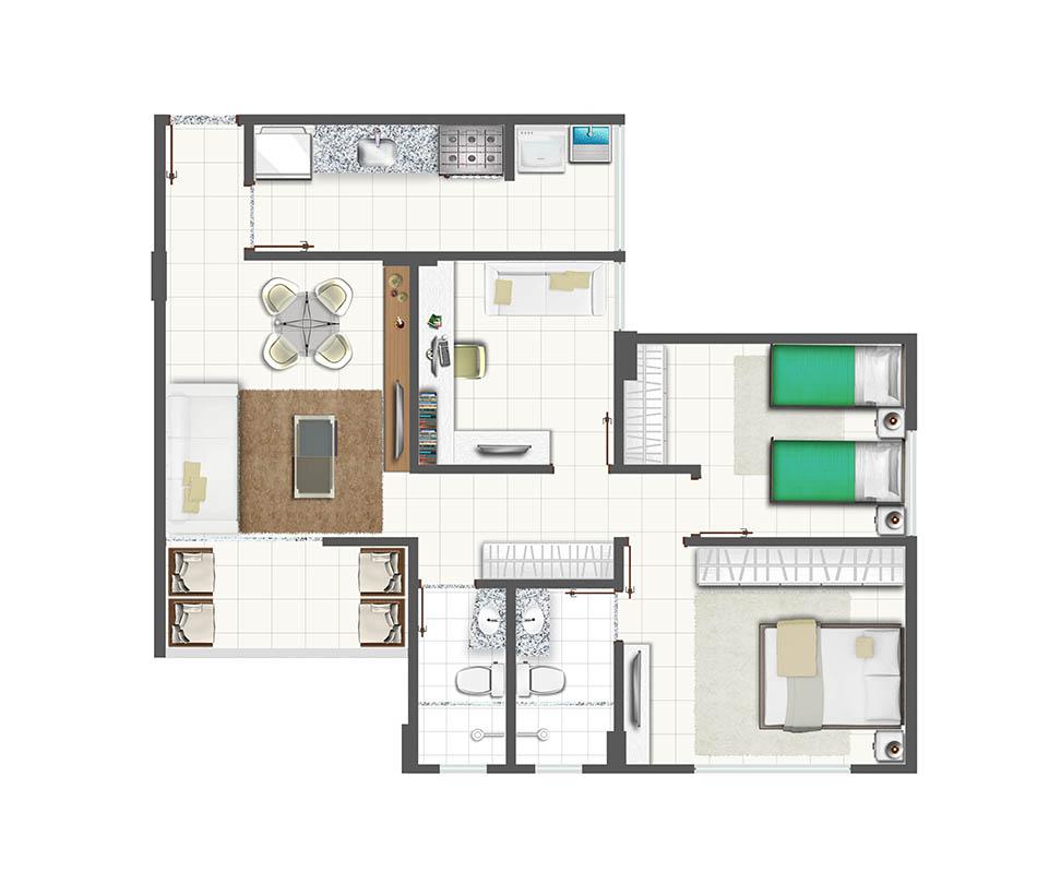 Apartamento de 3 quartos com cozinha fechada e escritório